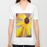 be happy V-neck T-shirts featuring Happy by Bella Blue Photography