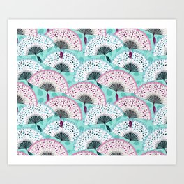 Oriental Hand Fan Pattern Art Print