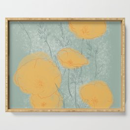California Poppies in Gray Serving Tray