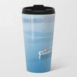 Cruise liner at the sea near Santorini island, Greece Travel Mug