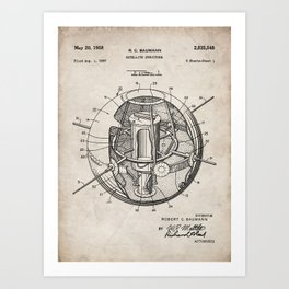 Space Satellite Patent - Outer Space Art - Antique Art Print