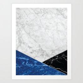 White Marble Blue Granite & Black Granite #514 Art Print