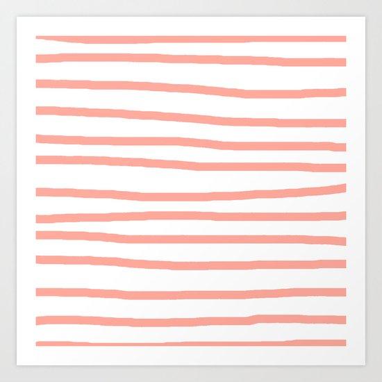 Simply Drawn Stripes Salmon Pink on White Art Print