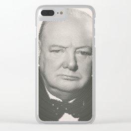 Winston Churchill Spiral Portrait Clear iPhone Case