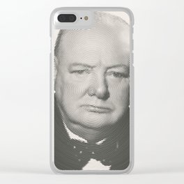 Winston Churchill Spiral Portrait Clear iPhone Case