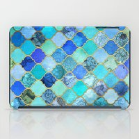 girly iPad Cases featuring Cobalt Blue, Aqua & Gold Decorative Moroccan Tile Pattern by micklyn