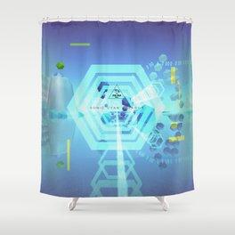 SONIC CYAN HEXAGON Shower Curtain