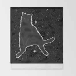 Kiki Kitty Cat in Outer Space Throw Blanket