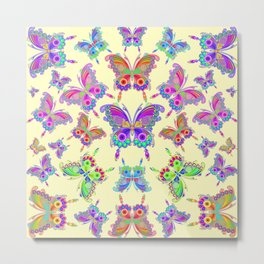 Butterfly Colorful Tattoo Style Pattern Metal Print