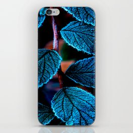 Peacock Blue Leaves Nature Background #decor #society6 #buyart iPhone Skin