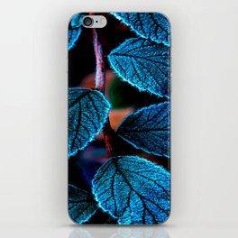 Peacock Blue Leaves Nature Background #decor #society6 #buyart iPhone Skin