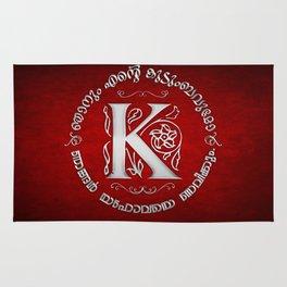 Joshua 24:15 - (Silver on Red) Monogram K Rug