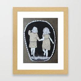 WE GO INTO THE DARKNESS TOGETHER Framed Art Print