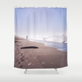 Follow your dreams and ethereal walk on the beach Shower Curtain