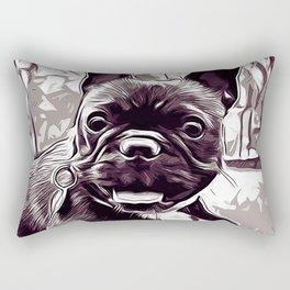 french bulldog basketball vector art black white Rectangular Pillow
