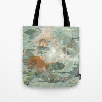 little mermaid Tote Bags featuring Little Mermaid by Fizzyjinks