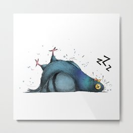 Permanently Exhausted Pigeon Metal Print