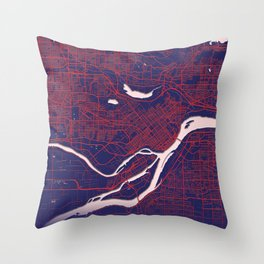 Burnaby, BC, Canada, Blue, White, City, Map Throw Pillow