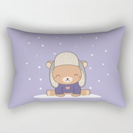 Kawaii Cute Winter Bear Rectangular Pillow