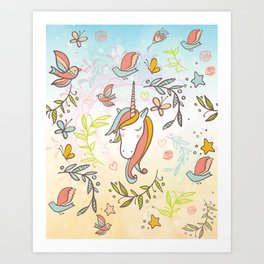 Pastel Vintage Dreams Unicorn - Illustrated unicorn with birds and butterflies Art Print