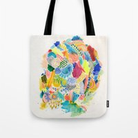 katamari Tote Bags featuring It's like a fucking awesome incredible dream by Marcelo Romero