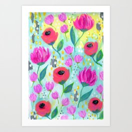 Pink and Coral Flowers, Floral Painting Pattern, Girl's Room Decor, Interior Design Art Print
