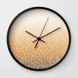 Ombre orange and white swirls doodles Wall Clock