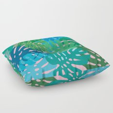 Colorful monstera leaves 3 Floor Pillow