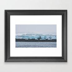 Black Sand & Ice Framed Art Print