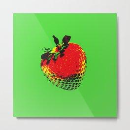 Strawberry Green - Posterized Metal Print