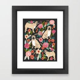 Pugs of spring floral pug dog cute pattern print florals flower garden nature dog park dog person  Framed Art Print