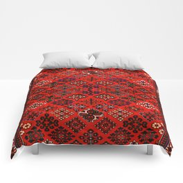 -A30- Red Epic Traditional Moroccan Carpet Design. Comforters