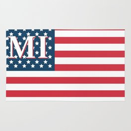 Michigan American Flag Rug