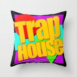 Trap House Square Logo Throw Pillow