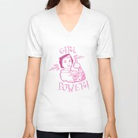 girl power V-neck T-shirts featuring Girl Power by Elise Furlan