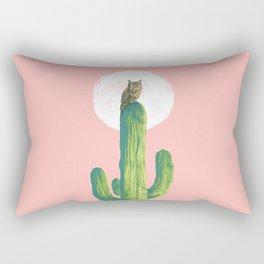Quirky owl on saguaro cactus Rectangular Pillow