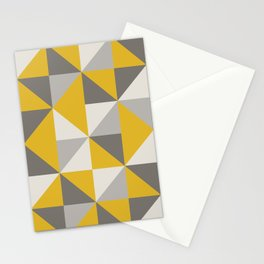 Retro Triangle Pattern in Yellow and Grey Stationery Cards