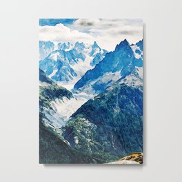 Watercolor Mount Le Blanc Metal Print