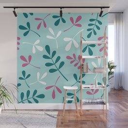 Assorted Leaf Silhouettes Teals Pink White Wall Mural