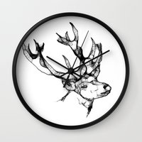antler Wall Clocks featuring deer antler by oslacrimale