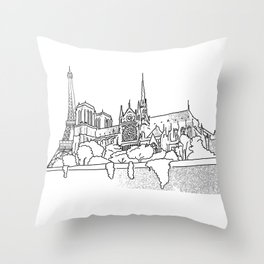 Notre Dame and Eiffel Tower travel scene Throw Pillow