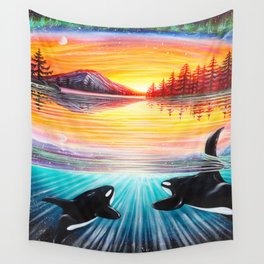 Orca Love Wall Tapestry