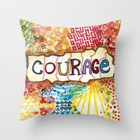 klaine Throw Pillows featuring Courage by Ines92