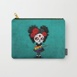 Day of the Dead Girl Playing Gay Pride Rainbow Flag Guitar Carry-All Pouch