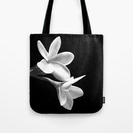 White Flowers Black Background Tote Bag