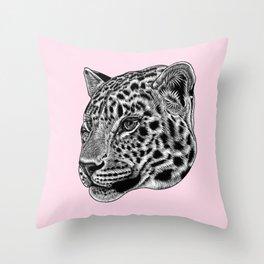 Amur leopard cub - pink - big cat Throw Pillow