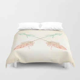 Tribal Arrows Turquoise Coral Gradient Duvet Cover