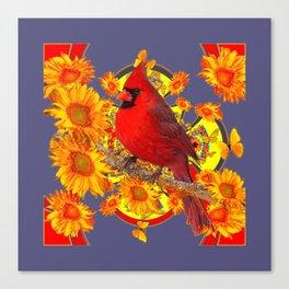 GOLDEN SUNFLOWERS RED CARDINAL GREY ART Canvas Print