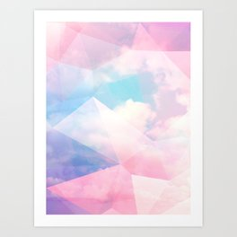 Cotton Candy Geometric Sky #homedecor #magical #lifestyle Art Print