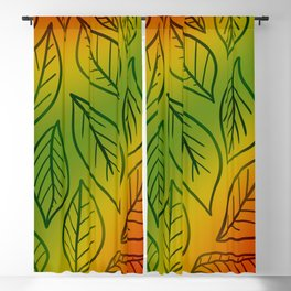Deep Autumn Gradient With Leaves! Blackout Curtain
